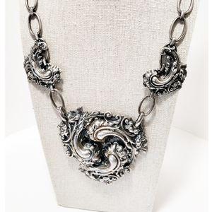 Vintage Repoussé Silver Plated Ornate Necklace